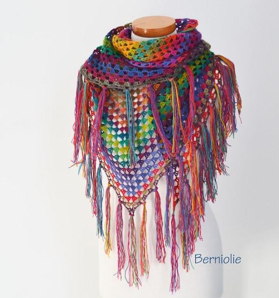 Bohemian crochet shawl with fringe N363 by Berniolie on Etsy