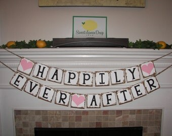wedding shower rustic twine banner decoration decor - HAPPILY EVER AFTER Banner