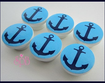 Nautical Anchor Knobs • Drawer Pulls • Nautical Knobs • Anchor • Navy • Turquoise • Dresser Drawer Knobs