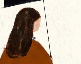 Autumn girl big print