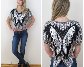 80s Black and Silver Sequined Butterfly Crop Top, Size XS to Small, Medium