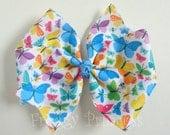 Butterfly Hair Bow - Pinwheel Bow - No Slip Velvet Grip Hair Clip