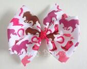 Wild Horses Bow - Pink and Brown Pinwheel Style - No Slip Velvet Grip Hair Clip