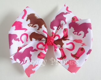Wild Horses Bow - Pink and Brown Pinwheel Style - No Slip Velvet Grip Hair Clip