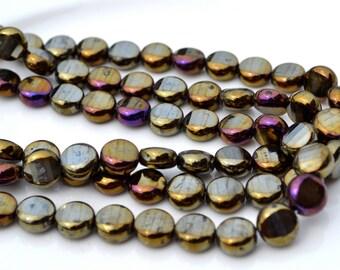 Brown Iris Faceted 9mm COin Czech GLass Beads  25