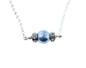 Swarovski Crystal Birthstone Color Pearl Necklace - One Birthstone (SCB001).