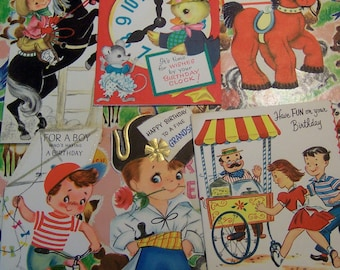 six charming vintage happy birthday cards