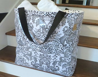pool bag - LARGE - tote bag - waterproof beach bag - monogrammed beach bag - reversible bag - oilcloth bag - gifts for her - teacher gifts