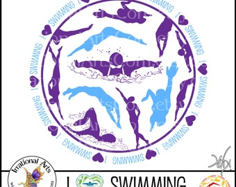 Customized I Love Swimming Circle **OR** Heart - 1 png graphic - filled with swimming silhouettes [ Choose YOUR Color ]