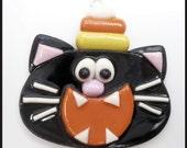 SALE Polymer Clay Candy Corn Cat Pendant bead