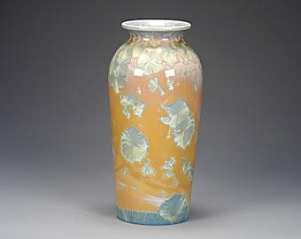 Ceramic Vase - Crystalline Glaze on High-Fired Porcelain -  Hand Made Pottery - FREE SHIPPING - #E-1-6672