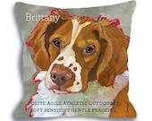 Brittany spaniel pillow - dog art pillow 18x18 dog portrait home decor, custom dog name options home decor dog breed art