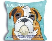 Bulldog No. 1 - dog art pillow 18x18 custom your pet's name option, dog home decor, dog breed pillow ursula dodge
