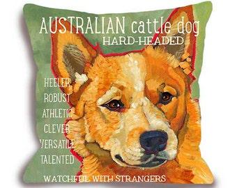 Australian Cattle Dog Pillow - Red Heeler home decor custom with your pet's name pillow home decor dog art custom gift