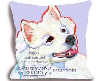 American Eskimo No. 1 - custom dog pillow your dog's name home decor dog breed 18x18 dog art pillow pet portrait