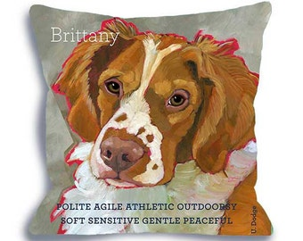 Brittany spaniel pillow - dog art pillow 18x18 dog portrait home decor, custom dog name options home decor dog breed art