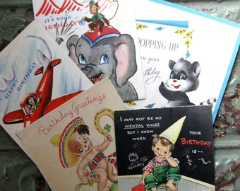 Mid Century Juvenile Birthday Greeting Cards, Airplane, Elephant, Racoon, Pop Up Card Too! Five Cards