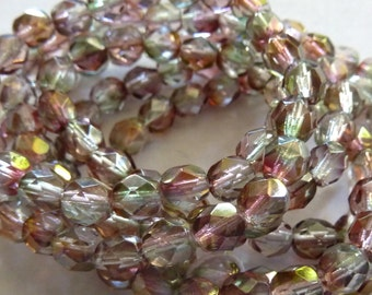 Two Tone Pink / Green 6mm Faceted Fire Polished Glass Czech Round Beads (25)