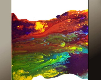 Abstract Art Painting on Canvas - 18x24 Contemporary Original Paintings by Destiny Womack - dWo - Chasing Rainbows