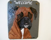 Welcome sign with Brown Boxer (natural ears black mask)