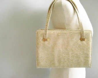 Vintage Patent Leather Pale Yellow Structured Handbag