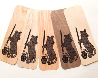 1 Genuine wood Rat woodcut art bookmark 6 x 2 inches