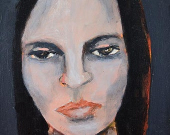Woman Portrait Painting Print. Grumpy Woman. Not a Mind Reader. Wall Art Prints