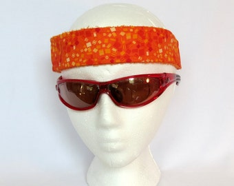 Adjustable Sweatband / Headband - Orange Squares