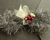 Holiday Antique Silver Vintage Style Tinsel Garland - Retro Christmas Tinsel Trim - DIY Holiday Ornament Supplies