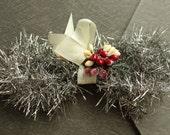 Holiday Silver Vintage Style Tinsel Garland - Retro Christmas Tinsel Trim - DIY Holiday Ornament Supplies