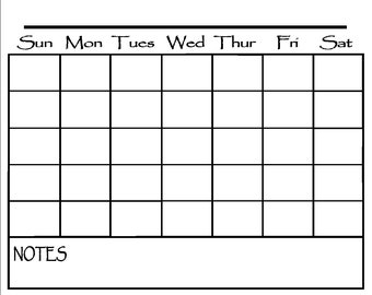 Calendar Decal to fit frame or whiteboard