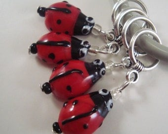 Ladybug Knitting Stitch Markers Handmade Glass Ladybugs Lady Bug Set of 4/SM187