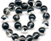 Vintage Black & Clear Beads 9mm Givre Western Germany 24 Pcs