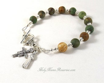 St Francis Rosary Bracelet San Damiano Miraculous Medal Mother of Sorrows Matte Opal Green Tan Single Decade Chaplet Prayer Beads