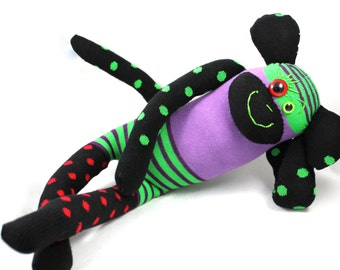Handmade Sock Monkey CLINT : Christmas gift, baby shower, spots, polka dots, stripes, plush sock stuffed toy softie. Hamburg, Germany