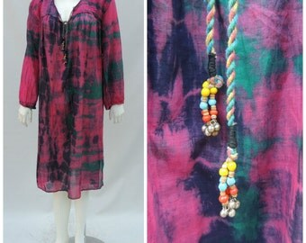 Vintage Indian Gauze Dress //  Vtg 70s 80s Black Rose Green Tie Dye India Cotton Voile Tunic Dress