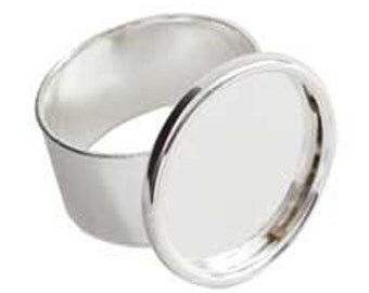 4 Ring Blanks Round Sterling Silver Plated Adjustable  (No. ND114) 11/16 Inch (18mm) Made In the USA