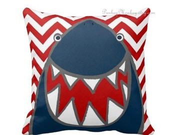 Striped or chevron Shark pillow toss pillow beach theme ocean fish surf sharks beach decor kids toddler boys girls teen adult personalized