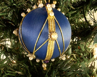 Blue Satin Ball Handmade Bead and Pin Christmas Ornament with a Chevron Pattern