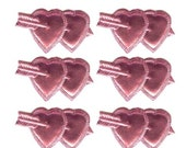 12 Pink Dresden Foil Double Hearts Made In Germany