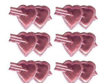 12 Pink Dresden Paper Foil Double Hearts Valerntines Germany