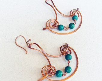 Boho Copper Turquoise Earrings, Hand formed wire jewelry