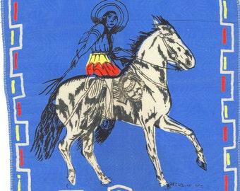 1940's Handkerchief - Mexico Souvenir - Horse and Rider - Silk