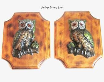 Vintage Wood Wall Hangings, Retro Handmade Owl Plaques