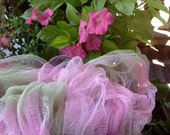 Hand Dyed Cheese Cloth - Pastel Pink & Pastel Green - Perfect for Nuno Felting - Enchanted Forest - Crafts - altered Art - Fairy Cloth