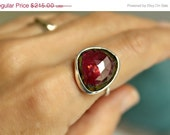 ON SALE October Birthday Birthstone Triangle Trillion Cut Rose Cut  Watermelon Pink Tourmaline Hammered Band Statement Ring Freeform Passion