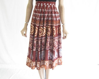 Vintage 70's India Cotton Boho Elephant Print Skirt