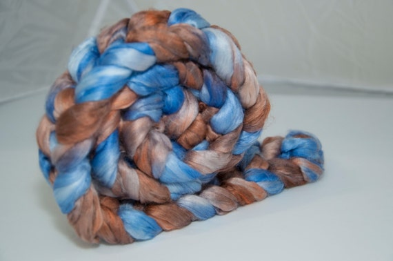 100g Handpainted Milk Protein Fibre in Bronze, Blue and Brown