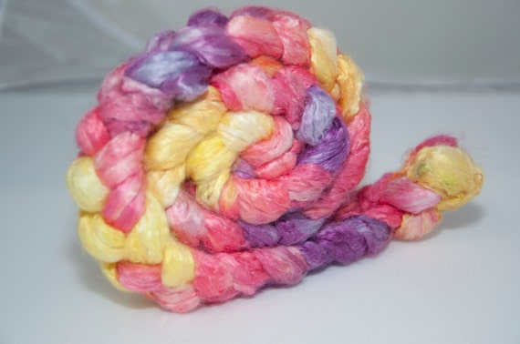 100g Handpainted Soybean Fibre in Yellow, Pink and Purple
