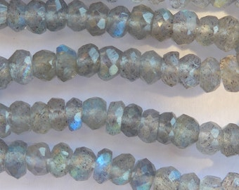 15 inches of twinkly faceted labradorite rondelles - approx 3mm width